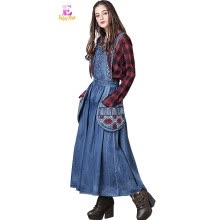 -S M L High Quality waist 74-82cm vintage cotton autumn 2017 long jeans dress women sleeveless blue denim maxi embroidery casual on JD