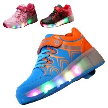 kids-baby-shoes-Cool Kid Youth Girl Boy LED Light Up Wheels Roller Shoes Skates Sneakers on JD