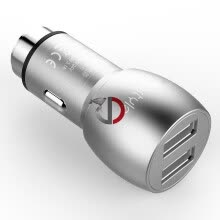 -dostyle DC101 Car Charger 3.1A Dual USB with safety hammer, durable and safe, silver on JD