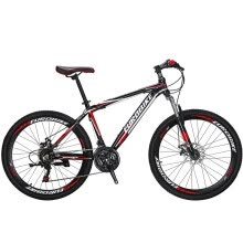 8750504-Eurobike 26' Mountain Bike Aluminium Frame Bicycle 21 Speed Daul Dice Brake MTB School Black Red on JD