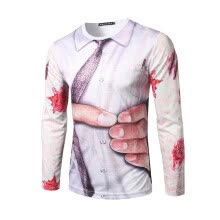 875061442-New Spring Men's Fashion Personality 3D Grasping Waist Printing Round Neck Long-sleeved T-shirt on JD