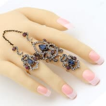 875062457-Big Discount Brand Design Turkish Double Finger Rings Women Rhinestone Exquisite Antique Flower Ring Anillos Ajustable Size Gift on JD
