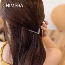 875062454-Chimera Hair Accessories Headdress Jane V Alloy Full Diamond Simple Side Folder Bangs clip White on JD