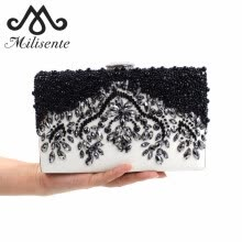 -Milisente Women Black Clutch Wedding Bag Female Vintage Clutches Ladies Beaded Pearl Evening Bags Party Purses on JD