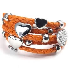 -Hpolw Stainless Steel Heart Charms Braided Leather Womens Bracelet, White Silver Orange on JD