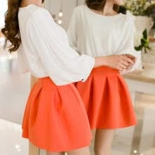 skirts-spring women's small short skirt high waist pleated puff skirt spring and summer basic bust skirt on JD