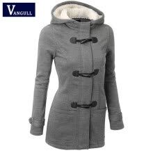 875061819-Winter Coat Women 2015 New Fashion Women Wool Blends Slim Hooded Collar Zipper Horn Button Long Coats Outerwear special button on JD