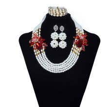 875062459-pearl necklace and earring lady engagement jewelry African necklace sets for women Nigerian beads necklace jewelry set on JD