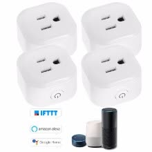 87502-Mini Wifi Smart Socket with Energy Monitoring Function Bulgy On/Off Button Smart alex-a Outlet Support APP Remote Control Timing F on JD