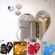 875062531-Heart Shape 3D Mirror Wall Sticker Room Decal on JD