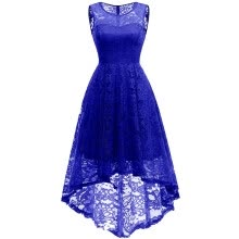 -Women Floral Lace Bridesmaid Party Dress Short Prom Dress V Neck Homecoming Dress on JD