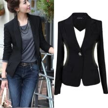 -Fashion Casual Slim Suit Women Blazer Coat Jacket Outwear Black on JD