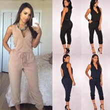 jumpsuits-playsuits-bodysuits-2018 Summer sexy women's V-neck sleeveless casual long jumpsuit pants on JD