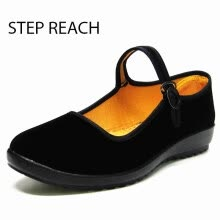 875061444-Woman Mary Jane shoes flat Black canvas comfortable Buckle Strap women Round Toe Solid Casual on JD