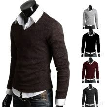 cardigans-Men Casual Slim Fit V-neck Knitted Cardigan Pullover Jumper Sweater Top on JD