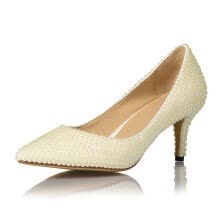 875061444-Creamy-white pearl pointed high heel shoes  Ladies' wedding shoes on JD