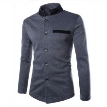 -Zogaa Fashion Contrast Color Stand Collar Chinese Tunic Suit Casual Men's Jacket on JD