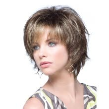 -QianBaiHui Brown Short Layer Nature Curly with Bangs Synthetic Wig Heat Resistant Weave Full Wigs for Women on JD