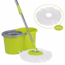 87502-Green & Blue Stainless Steel 360°Rolling Magic Spin Mop & Bucket Set Rotating Easy-Wring Floor Mop W/ 2 Microfiber Mop Heads on JD