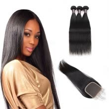-Ishow Affordable 7A Brazilian Virgin Hair Straight With Baby Hair Closure Brazilian Virgin Hair 3 Bundles with Closure on JD