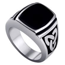 -Hpolw Mens 316L Stainless Steel black crystal Celtic Knot Signet weaves Ring on JD