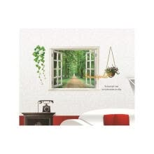 8750202-Baby Kids Room Vivid Window Road Green Trees Flowers Home Decor Wall Sticker Poster Decoration on JD