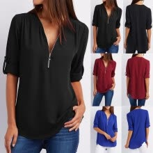 875061821-Fashion Ladies Casual Tops T-Shirt Women Summer Loose Top Long Sleeve Blouse on JD
