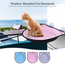 area-rugs-doormats-Window-Mounted Cat Bed Perch Hammock Strong Suction Cup Metal Cable Hold Up to 15KG/ 33Lbs for Cat Resting Sunbath Watching Spot on JD