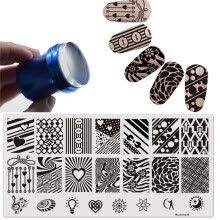 -Love Heart Sunlight Nail Stamping Plate Nail Art Template Manicure Image Plate Tool + DIY Blue Metal Handle Stamper Scraper Set on JD