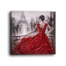 -Framed canvas modern living room bedroom background wall character red dress back decoration decorative painting on JD