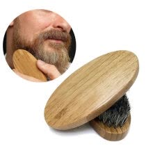 styling-tools-Mens Boar Hair Bristle Hard Round Wood Handle Beard Mustache Stylling Brush Tool on JD