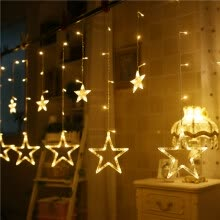 -Inkfish LED Curtain Star Light Lantern 3.5 Meter Plug-in Girl Heart Light Lantern String Lights Starry Curtain Curtains Bedroom Romantic Room Wall Decoration Decorating Net Red on JD