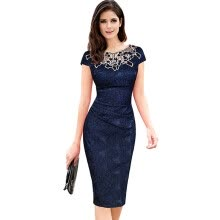 -2018 Casual Summer Blue Lace Retro Work Dress Vestidos Bodycon Evening Party Dress Office Pencil Dress Plus Size Women Clothing on JD