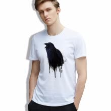 -Men T-shirt Vintage Cotton Black Bird art Cool Tshirt White O-neck Casual Fashion Clothes on JD