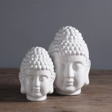 8750202-Modern new Chinese style Zen Buddha head ceramic ornaments living room  TV cabinet porcelain decorative crafts statue decoration on JD