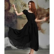 -Women's Maxi chiffon Vintage Style Short Sleeve Long Ball Party Irregular Evening Dress on JD