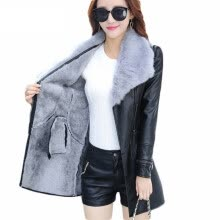 fur-Winter 2018 New Fashion Leather PU Jacket Big Fur Collar with Belt Long Plus Size PU Leather Jacket Outwear Coat on JD