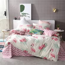 8750203-SlowDream Fashion Pink Flamingos Elegant Bedding Set Light Luxury Duvet Cover Active Printing Set Bed Linen Multi Sizes on JD
