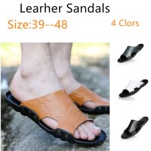 875062322-2018 Summer New Style Fashion Leather Sandals Slip Large Size Sandals and Slippers Beach Shoes on JD