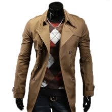 -Zogaa New Men's Wind Coat Double-breasted Lapel Slim Fashion on JD