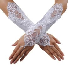 875062531-White Bride Wedding Party Dress Fingerless Pearl Lace Satin Bridal Gloves on JD