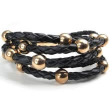 -Hpolw Rose-Gold Black Stainless Steel Metal round beads Charms hand-knitted/Braided Leather  Leather Spring buckle Bracelet on JD