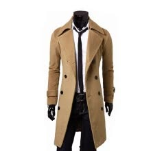 cardigans-Zogaa New Men's Woolen Coat Double-breasted Lengthen Simple Luxury on JD