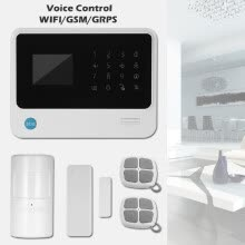 8750214-433MHz Wireless WIFI  GSM  GPRS SMS Auto dial Alarm Security System LCD Display Door Sensor PIR Motion Sensor Phone APP on JD