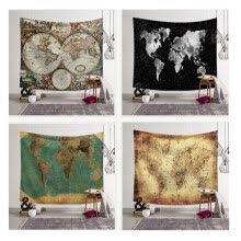 8750202-World Map Pattern Tapestry Wall Hanging Gobelin Sandy Beach Picnic Yoga Mat for Comfortable Home Decor Artting on JD