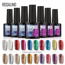 -ROSALIND Gel 1S P+Black Bottle 10ML Diamond Glitter W01-29 Gel Nail Polish Semi Permanent Nail Art UV&LED Soak-Off gel lacquer on JD