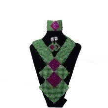 -AMYNOVA Grass Green Bib Style African Jewelry Set Handmade Beaded Necklace Nigerian Wedding Beads Bridal Costume Jewelry on JD