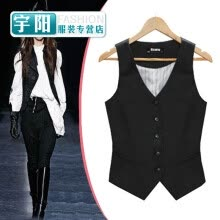 suiting-blazers-Europe and the United States Slim V dress vest women's professional work waist suit small vest short vest black riding on JD
