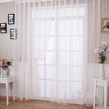 -100 x 270cm Flocking Floral Printed Sheer Wall Room Divider Window Curtain on JD