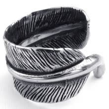 -Hpolw Mens Womens Stainless Steel beautiful design wedding Ring, Black&Silver Vintage fashion Feather lover rings on JD